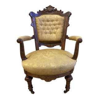 East Lake Victorian Tufted Arm Chair For Sale
