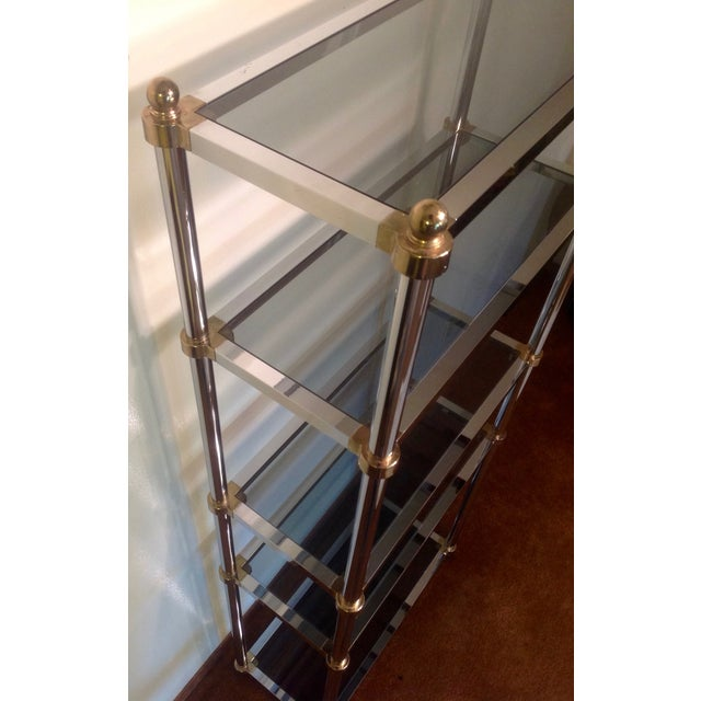 Hollywood Regency Maison Jansen Etagere, Chrome & Brass Smoked Glass For Sale - Image 3 of 10
