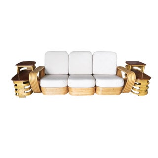 Mid-Century Restored Six-Strand Sectional Sofa Living Room Set W/ Side Tables - 3 Pc. Set For Sale