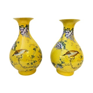 Yellow Famille Jaune Vases- A Pair For Sale