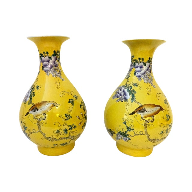 Yellow Famille Jaune Vases- A Pair - Image 1 of 7
