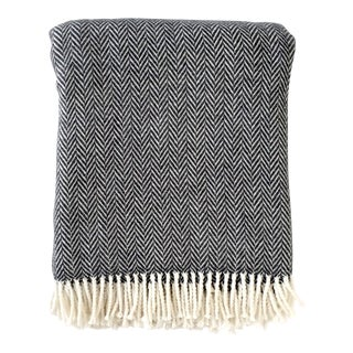 Fringed Charcoal Herringbone Throw Blanket