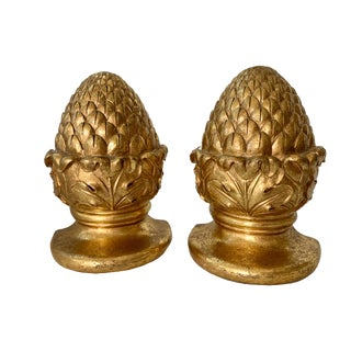 Vintage Gold Gilt Artichoke Bookends - a Pair For Sale