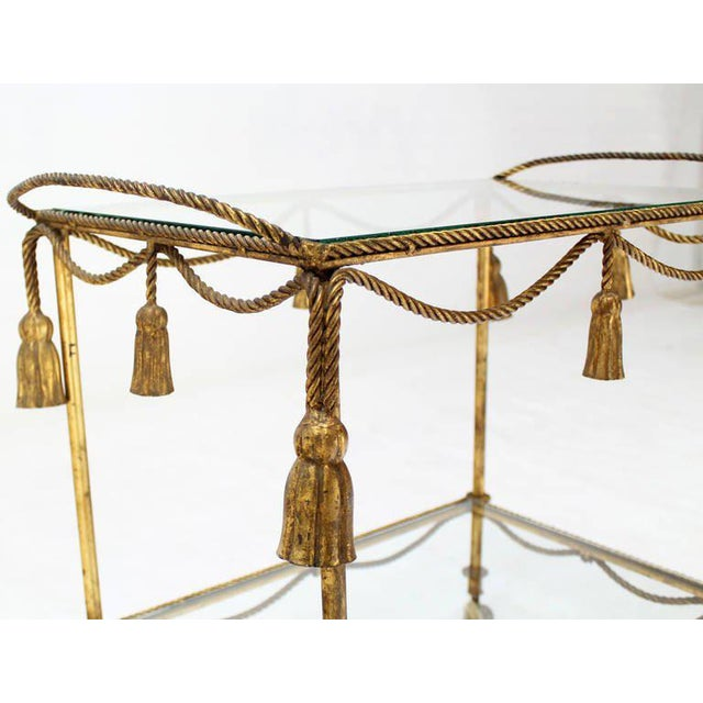 Midcentury Italian Gilt Metal Rope and Tassel Bar or Tea Cart For Sale - Image 10 of 10