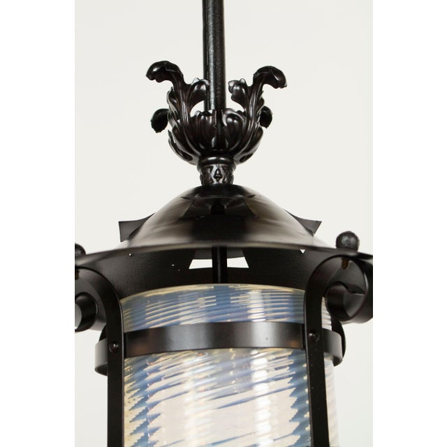 Mid 19th Century Iron and Blue Swirled Glass Gas Lantern For Sale - Image 5 of 5