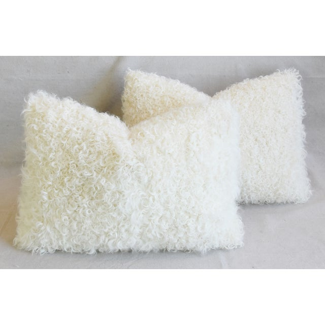"Animal Skin Ivory Natural Kalgan Curly Lambswool Fur Pillows 21 X 15"" - Pair For Sale - Image 7 of 13"