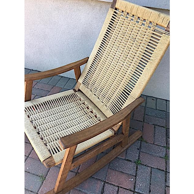 Mid-Century Modern Hans Wegner Style Rope Rocking Chair For Sale - Image 3 of 5
