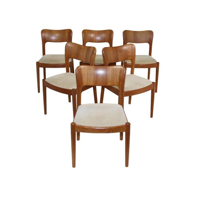 6 Danish Teak Chairs by Niels Koefoeds For Sale