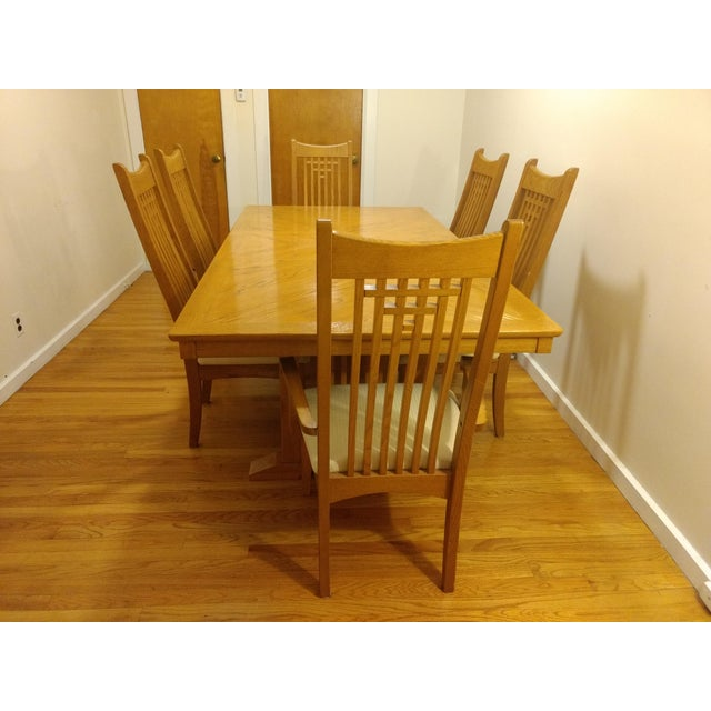 Natural Finish Solid Oak Dining Set For Sale In Boston - Image 6 of 7