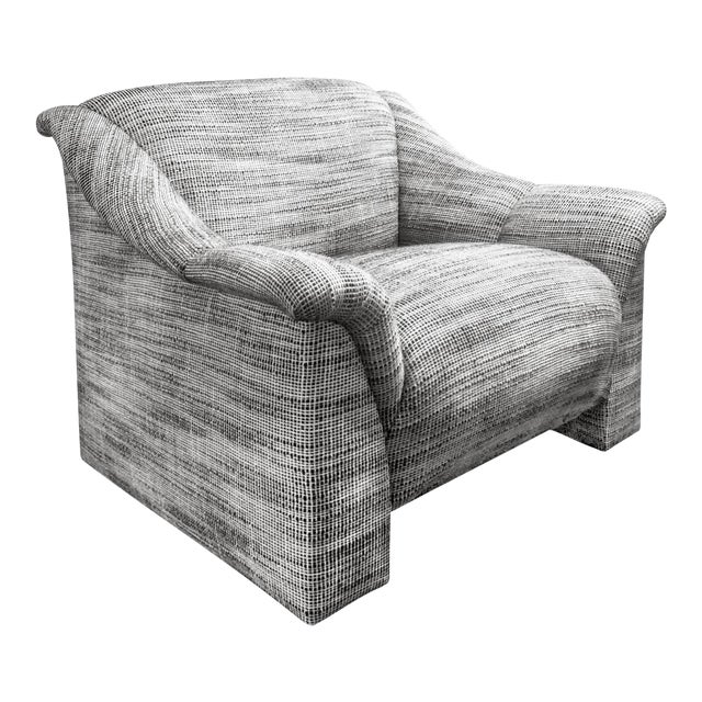 1970s Modernist Lounge Chair in Black and White Wool Basketweave Upholstery For Sale