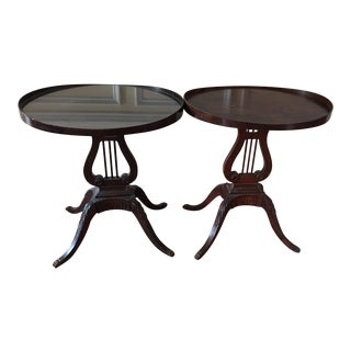 1960s Traditional Mersman Mahogany Oval Side Tables - a Pair