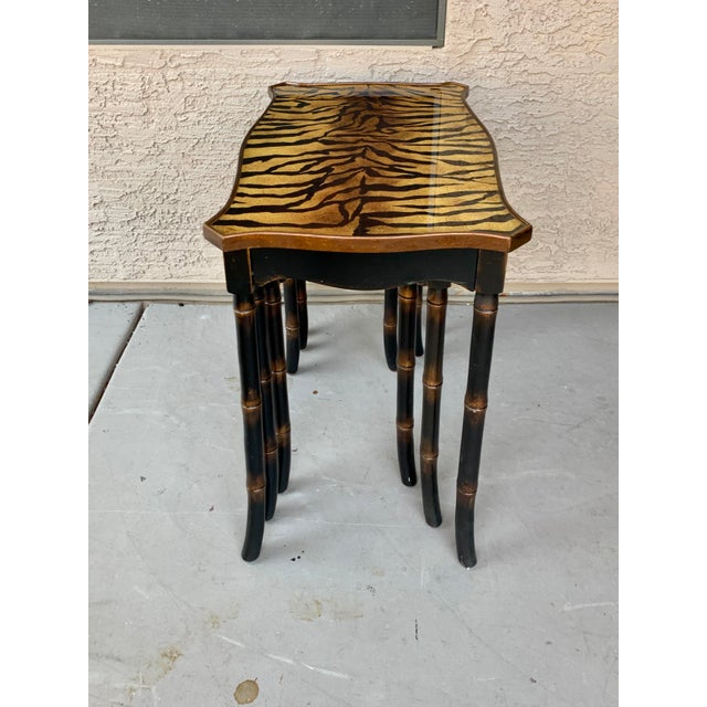 Resin Safari Style Faux Bamboo Resin Nesting Tables - Set of 3 For Sale - Image 7 of 12
