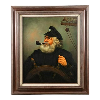"""1960s """"Portrait of a Sea Captain"""" Oil Painting by Kim Benson, Framed For Sale"""