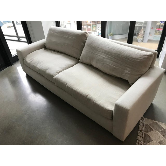 "Bought new in February 2017 from Restoration Hardware. Gently used. Length is 8 feet and depth is 40"". Fabric is Belgian..."