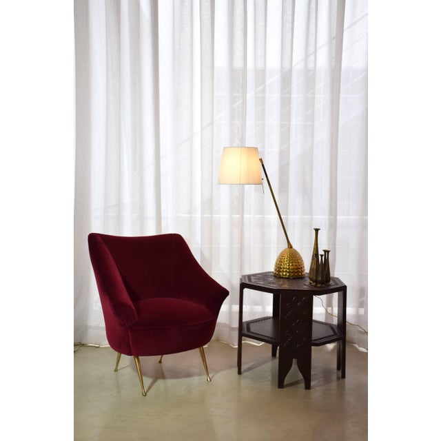 Italian Mid-Century Velvet Armchair For Sale - Image 11 of 11