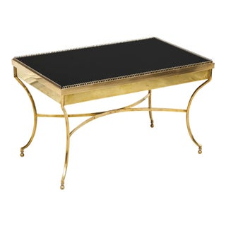 Brass Coffee Table With Smoked Glass and Galleried Top For Sale