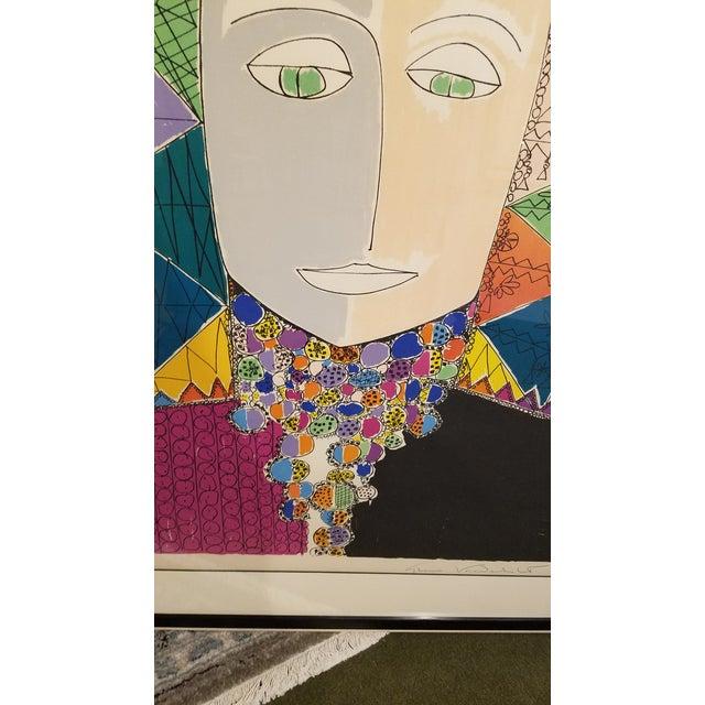 "Modern Original Gloria Vanderbilt Signed Lithograph Titled "" Egyptian Head"" For Sale - Image 3 of 9"
