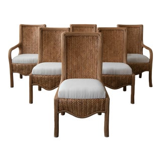 Vintage Reeded Bamboo Dining Chairs by Karl Rausch for Baker - Set of 6 For Sale
