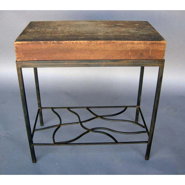Contemporary Antique Japanese Storage Box On Handwrought Iron Base For Sale - Image 3 of 8