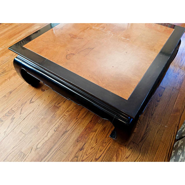 Black Ethan Allen Ming Dynasty Style Square Cocktail Table For Sale - Image 8 of 9