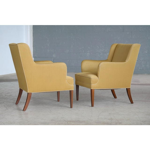 Yellow Frits Henningsen Pair of Lounge Chairs Denmark, Circa 1950 For Sale - Image 8 of 13