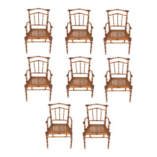 Vintage Carved Wood Faux Bamboo Chairs - Set of 8 For Sale