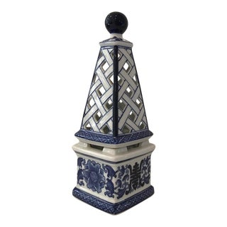 Blue & White Ceramic Obelisk