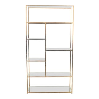 1970s Hollywood Regency Brass and Glass Etagere For Sale