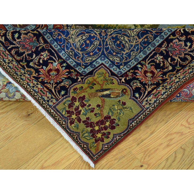 Red Antique Persian Tabriz Pictorial Rug- 4′7″ × 5′4″ For Sale - Image 8 of 13