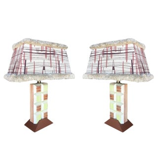 Mid Century Frankl Inspired Combed Cubist Block Table Lamp, Pair For Sale