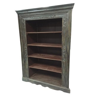 Antique Indian Old Doors Frame Bookcase For Sale