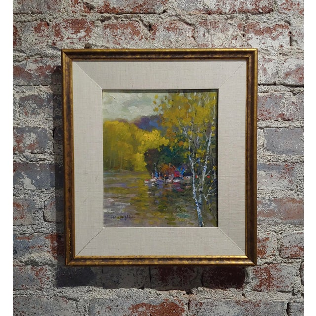 Kairong Liu -Landscape W/Ship on Lake - Oil Panting For Sale - Image 9 of 9
