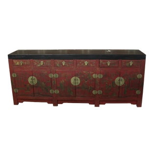 Antique Chinese Lacquered Chinoiserie Sidehboard For Sale