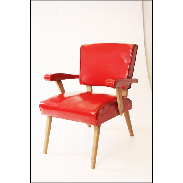 Plastic Mid Century Modern Red Viking Artline Slipper Chair For Sale - Image 7 of 11