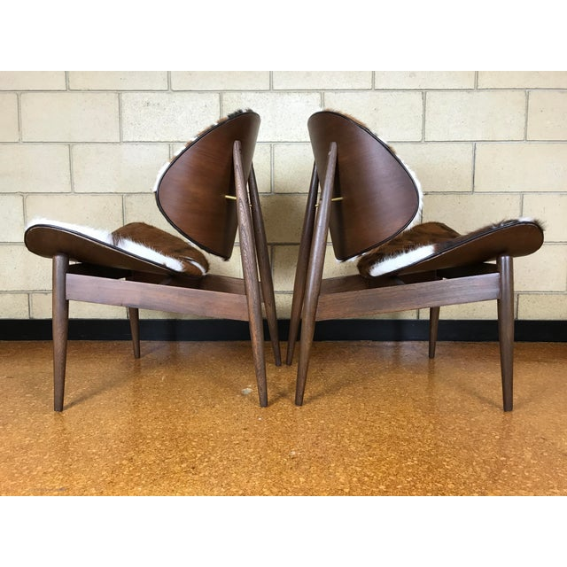 Animal Skin Kodawood Mid-Century Modern Clam Shell Lounge Chairs- A Pair For Sale - Image 7 of 9