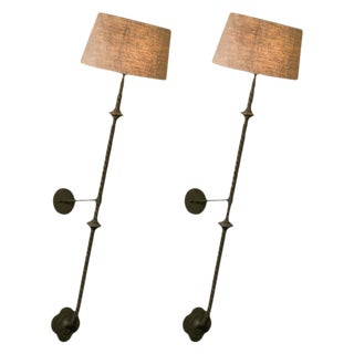 Pair French Tall Twisted Bronze Wall Sconces with Linen Shades, circa 1880