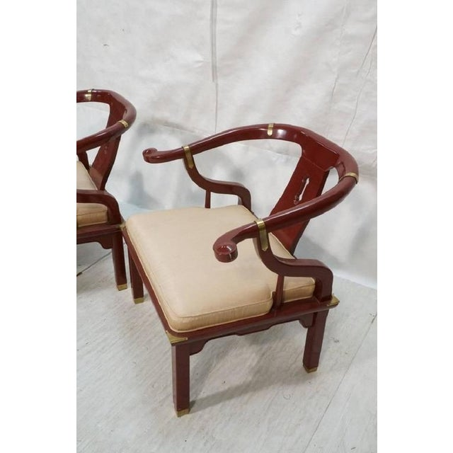 Brass James Mont Style Century Red Horseshoe Back Lounge Chairs - a Pair For Sale - Image 7 of 9