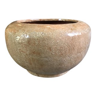 Crackle Glaze Terra-Cotta Pottery Vessel