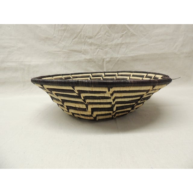 Vintage Brown and Natural Tribal African Basket - Image 4 of 4