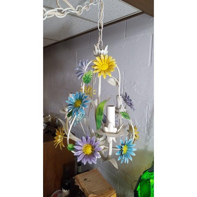 Blue 1970s Italian Floral Pastel Tole 3 Light Statement Chandelier For Sale - Image 8 of 8