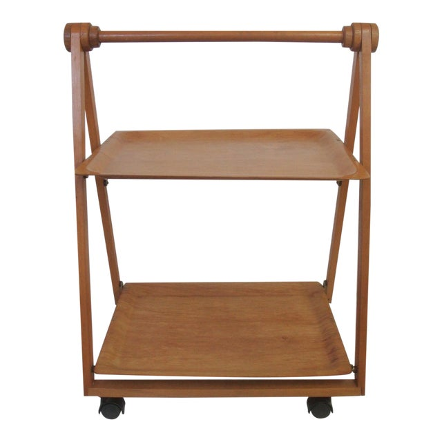 Danish Mid-Century Modern Folding Teak Bar Cart - Image 1 of 7