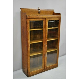 1900s Victorian Oak Glass 2 Door Bookcase China Cabinet Display Preview
