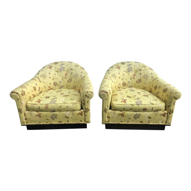 Pair of Milo Baughman Yellow Gold Scalamandre Mid-Century Chairs For Sale