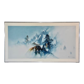 Mid 20th Century Japanese Landscape Scene Silk Painting, Framed For Sale