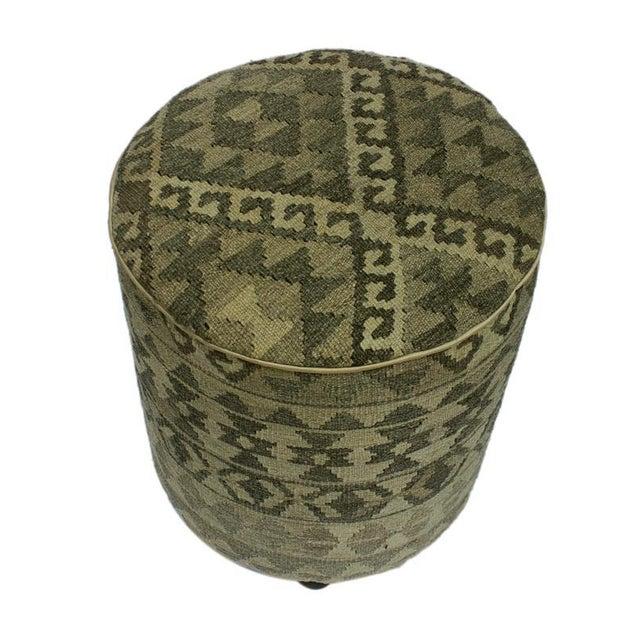 Arshs Deana Lt. Gray/Drk. Gray Kilim Upholstered Handmade Ottoman For Sale - Image 4 of 8