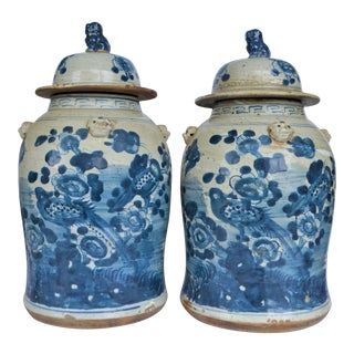 Large Chinoiserie White & Blue Baluster Temple With Birds / Ginger Jars - a Pair For Sale