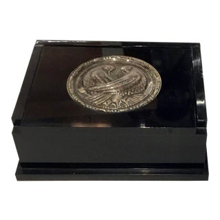 Art Deco Vintage Black Lacquer Box With Silver Dove Medallion For Sale