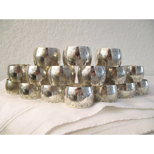 1970s Vintage Engraved Silver Napkin Rings - Set of 16 For Sale - Image 5 of 5