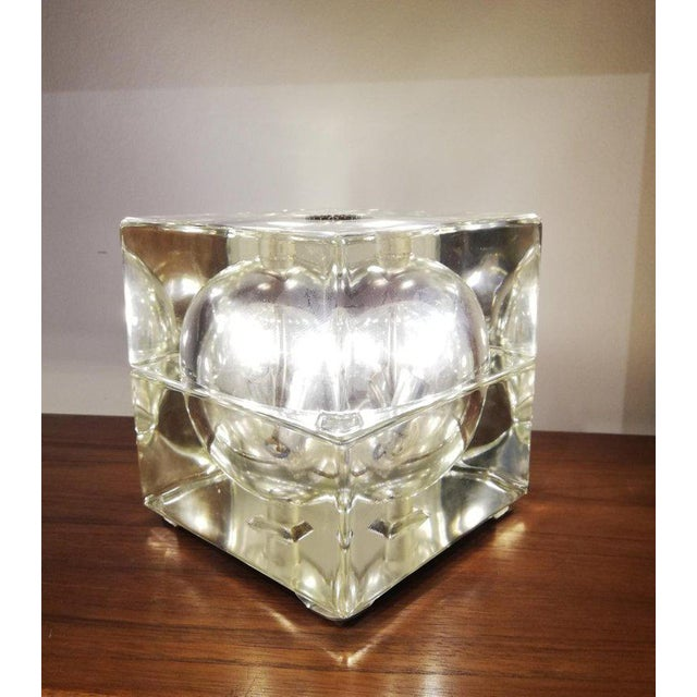 "1960s Pair of Table Lamp ""Cubo Sfera"" 1968 Allessandro Mendini for Fidenza Vetraria For Sale - Image 5 of 6"