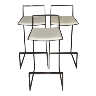 Set of Three Espresso Chrome & White Leather Modern Bar Stools For Sale